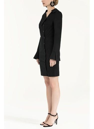 Societa Düğmeli asimetrik yaka dar kesim mini elbise 92147 Siyah